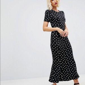 ASOS City Maxi Tea Dress In Polka Dot Print 8 New